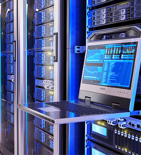 led console in server room data center